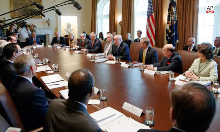 President Trump in a Cabinet meeting at the White House. (© AP Images)