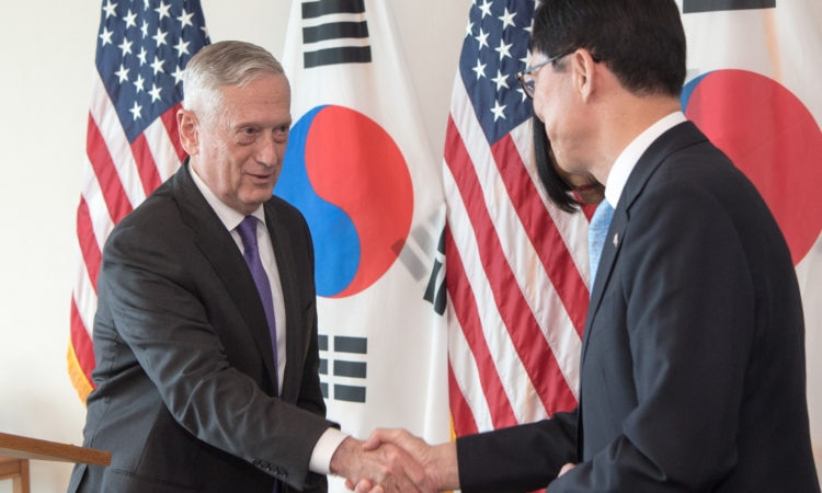 January 26, 2018 - Defense Secretary James N. Mattis and South Korean Defense Minister Song Young-moo shake hands during a news conference at U.S. Pacific Command Headquarters, Hawaii.