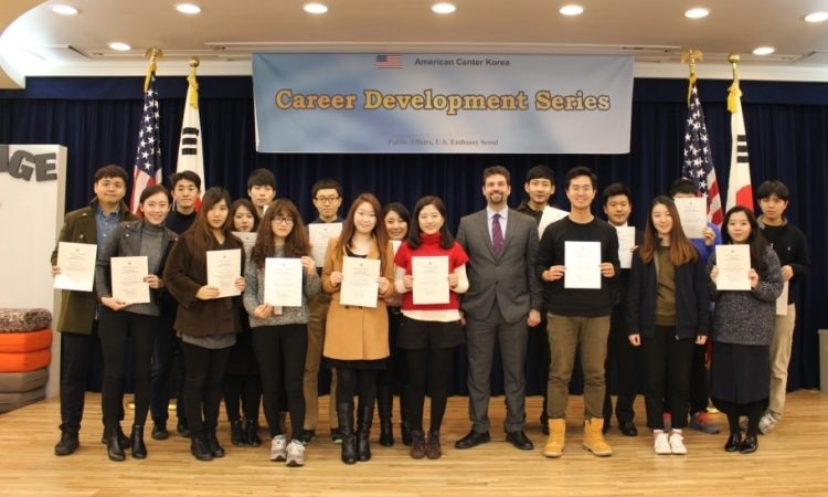 January 13, 2016 - Anthony Tranchina, Director of American Spaces at the U.S. Embassy in Seoul poses with participants who have successfully completed the ACK Career Development Series at the American Center Korea (ACK).