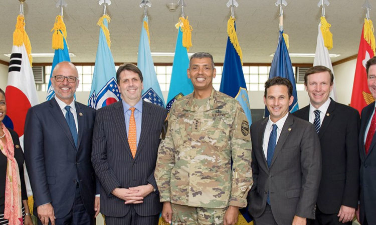 Ambassador Mark Lippert and General Vincent K. Brooks greet Senator Chris Murphy, Senator Sen Brian Schatz, and others on their visit to Korea.