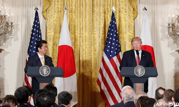Donald Trump,Shinzo Abe - President Donald Trump and Japanese Prime Minister Shinzo Abe participate in a joint news conference in the East Room of the White House in Washington, Friday, Feb. 10, 2017. (AP Photo/Pablo Martinez Monsivais)