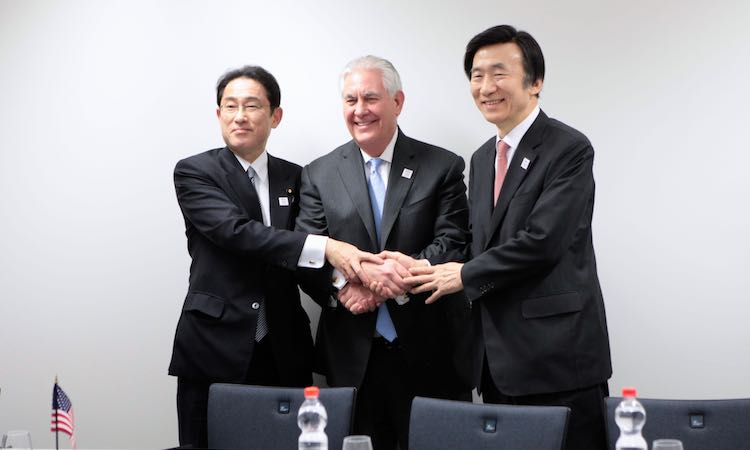 Today the U.S. Secretary of State Rex Tillerson, the Minister of Foreign Affairs of the Republic of Korea, Yun Byung-se, and the Minister for Foreign Affairs of Japan, Fumio Kishida, met in Bonn. The Ministers condemned in the strongest terms North Korea's February 12, 2017 ballistic missile test, noting North Korea's flagrant disregard for multiple United Nations Security Council resolutions that expressly prohibit its ballistic missile and nuclear programs.