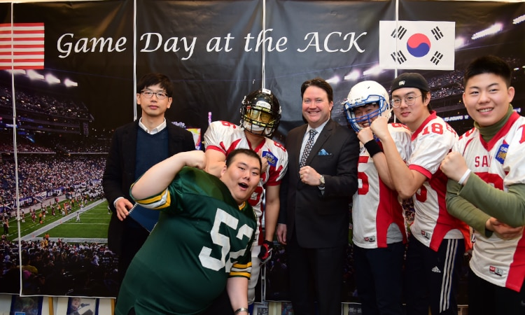 February 6, 2017 – Chargé d'Affaires Marc Knapper welcomed around 100 fans of American football to the American Center Korea to watch this year's championship football match.