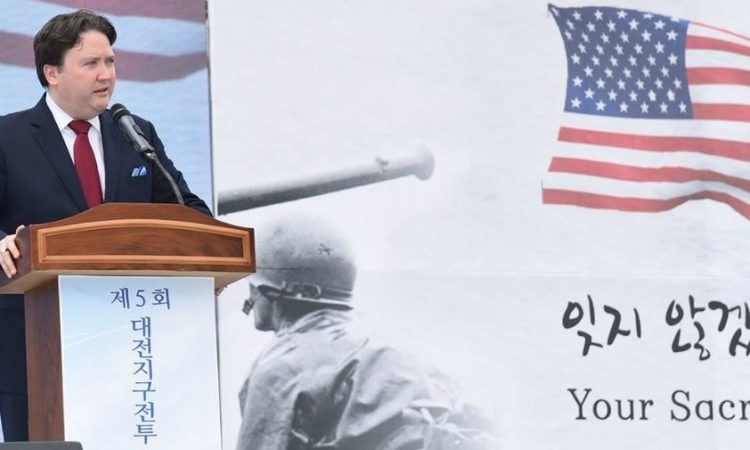 "July 6, 2017 - Chargé d' Affaires Marc Knapper attended the ""Battle of Daejeon"" ceremony and honored U.S. soldiers."