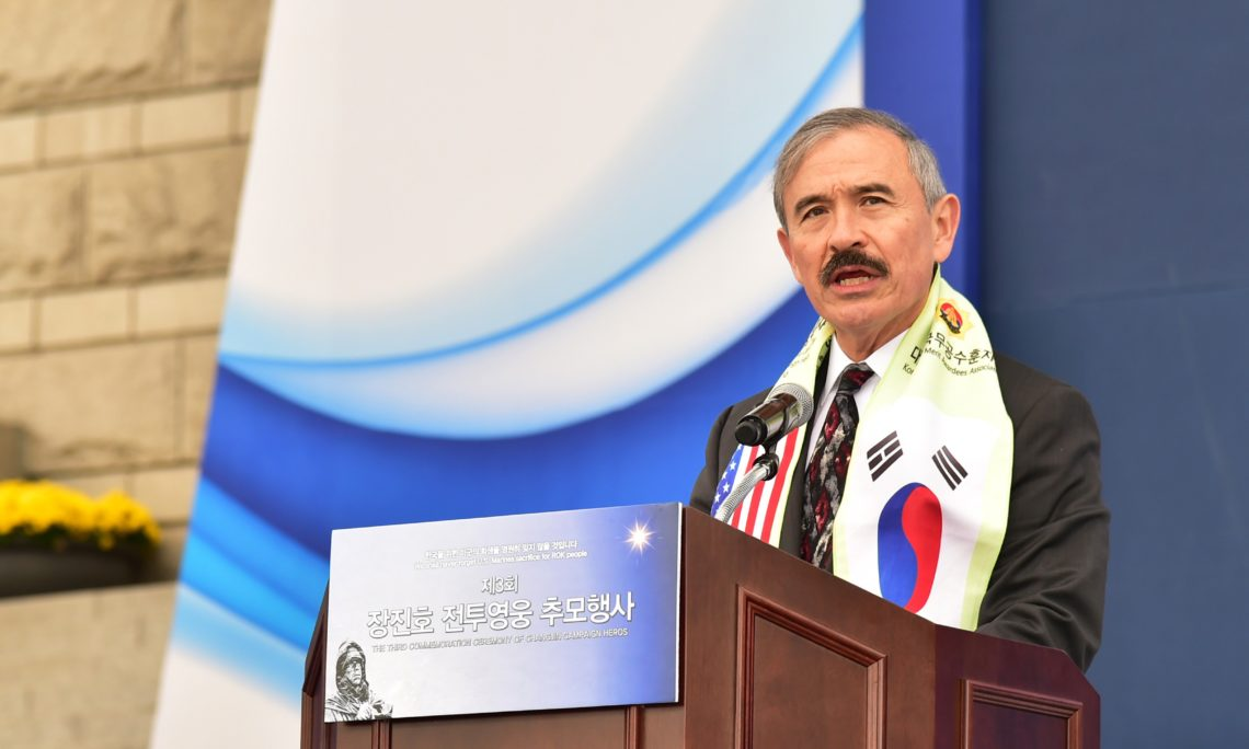October 10, 2018 - Ambassador Harry Harris paid tribute to the U.S. and UN soldiers who fought in the Battle of Chosin Reservoir.