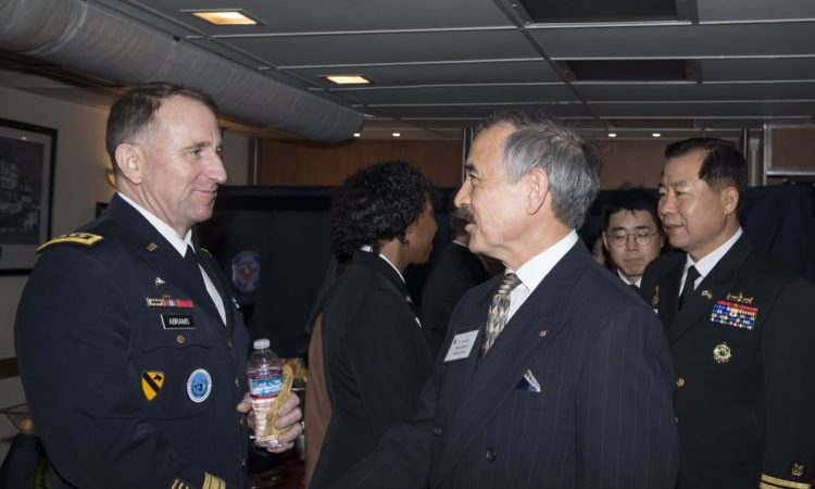 February 16, 2019 - Ambassador Harry Harris (center) visited the U.S. Seventh Fleet's flagship USS Blue Ridge and met ROK CNO Admiral Sim Seung-seob (right) and USFK General Robert Abrams (left) in Busan.